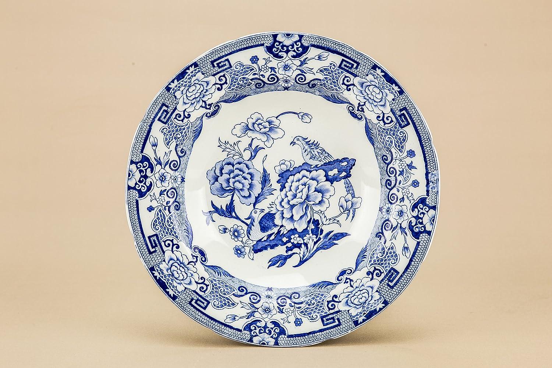 Lavish Shoestring Azul y Blanco Ironstone albañiles Placa Plato ...