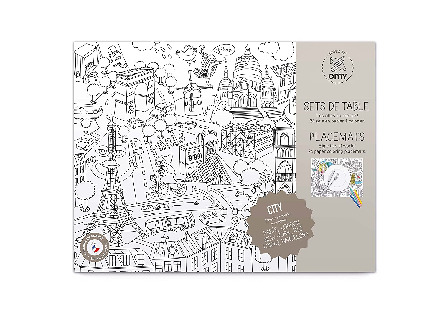 Amazon Com Omy Paper Coloring Placemats City Hours Of