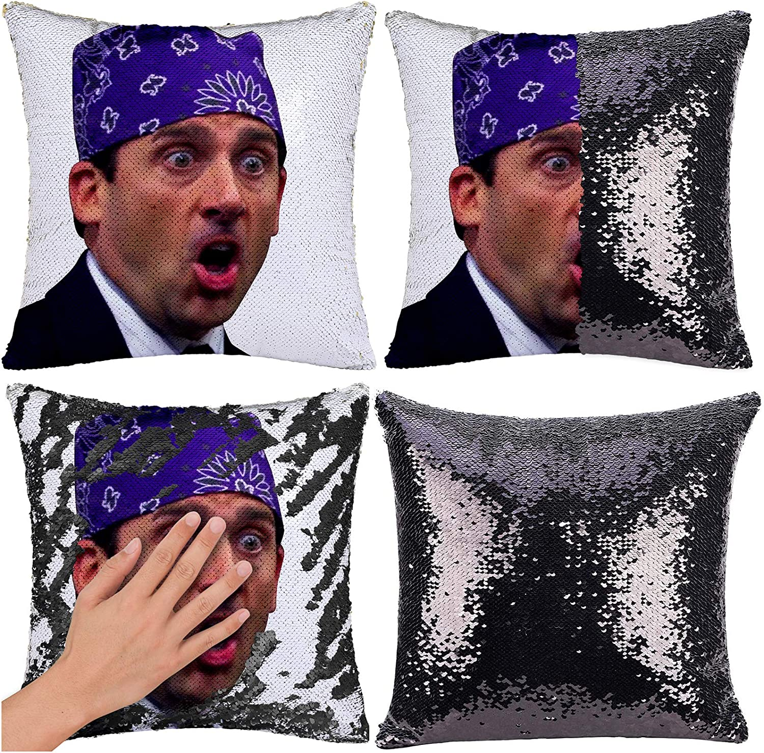 """RongDX Funny The Office Prison Mike Flip Sequin Pillow Case Throw Pillow Covers Magic Reversible Mermaid Pillow Cases Cushion Cover Decorative Pillowcase(16""""x16"""") (Prison Mike G1:Black)"""