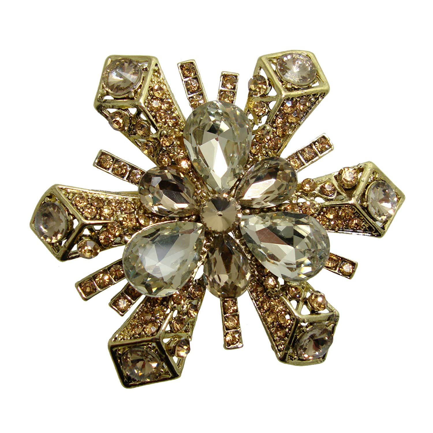 Champagne Brown Snowflake Crystal Pin