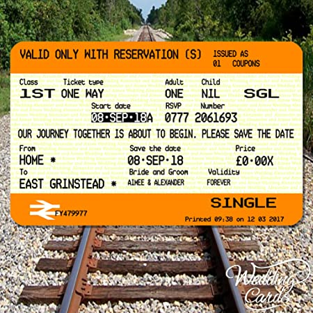 10 X Personalised Rail Wedding Save The Date Tickets Invites Cards