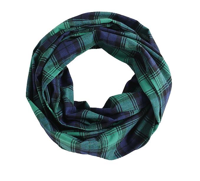 c35f4306ba760 Radiant & Resilient Plaid Infinity Scarf, 100% Cotton Flannel Plaid Infinity  Scarf (Green