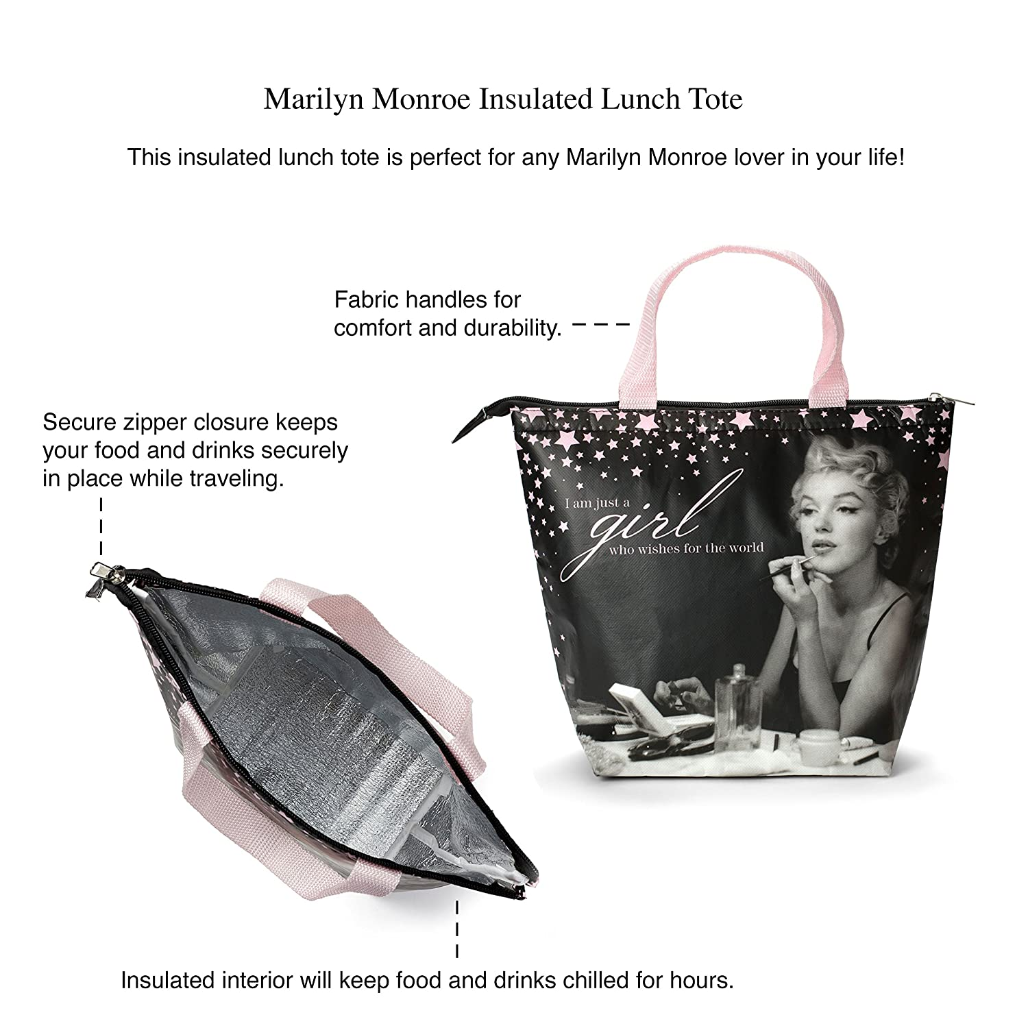Amazon.com: Marilyn Monroe Lunch Tote & Bottle: Insulated Lunch Bag ...
