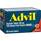 Advil (50 Count) Pain Reliever / Fever Reducer Coated Tablet, 200mg Ibuprofen, Temporary Pain Relief