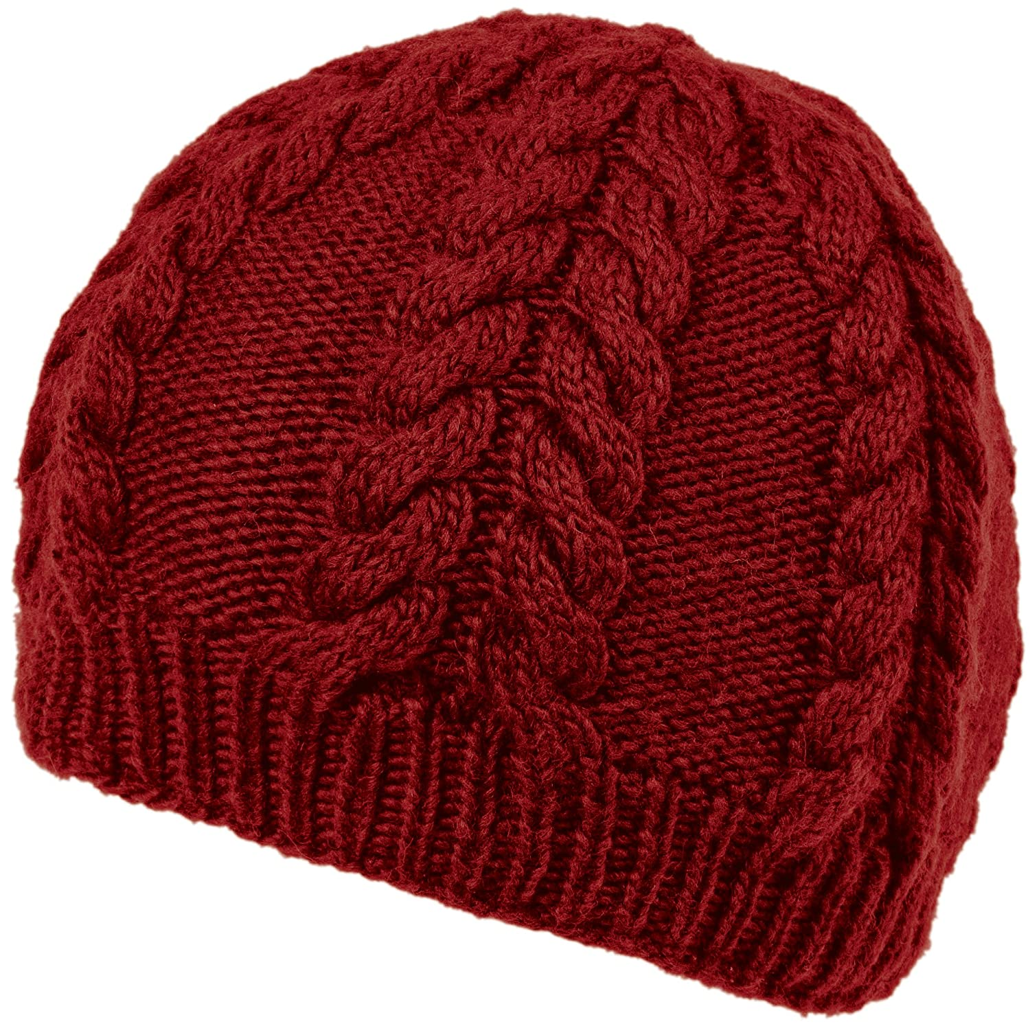 Nirvanna Designs CH413 Soft Wool Cable Beanie with Fleece, Red