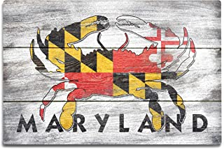 product image for Lantern Press Maryland, Rustic State Flag, Crab (12x18 Aluminum Wall Sign, Wall Decor Ready to Hang)