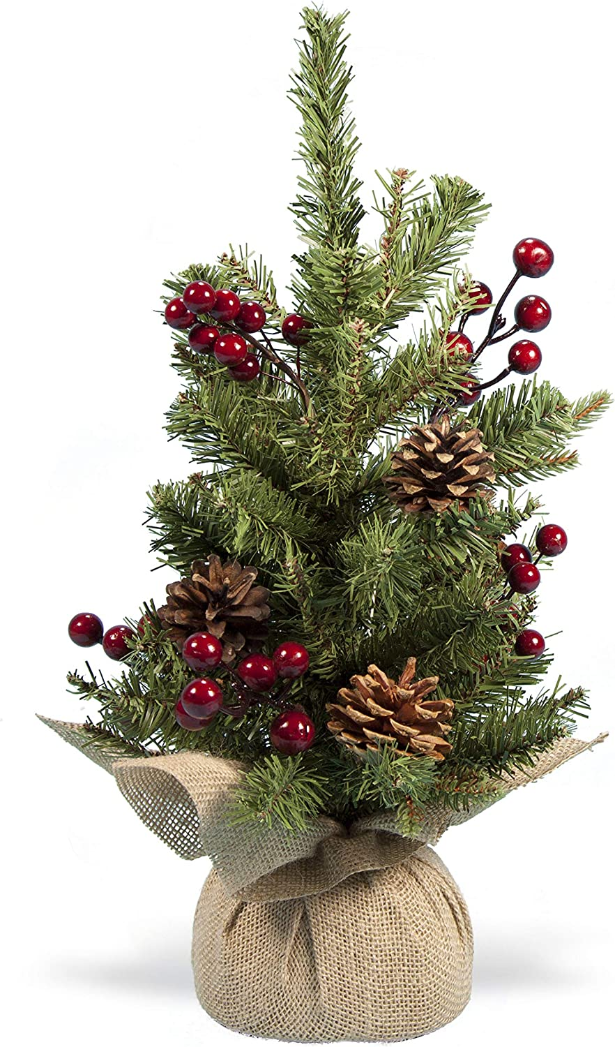 """Holiday Essentials Tabletop Christmas Tree with Pine Cones and Red Berries - 17"""" Height - Includes Burlap Base"""