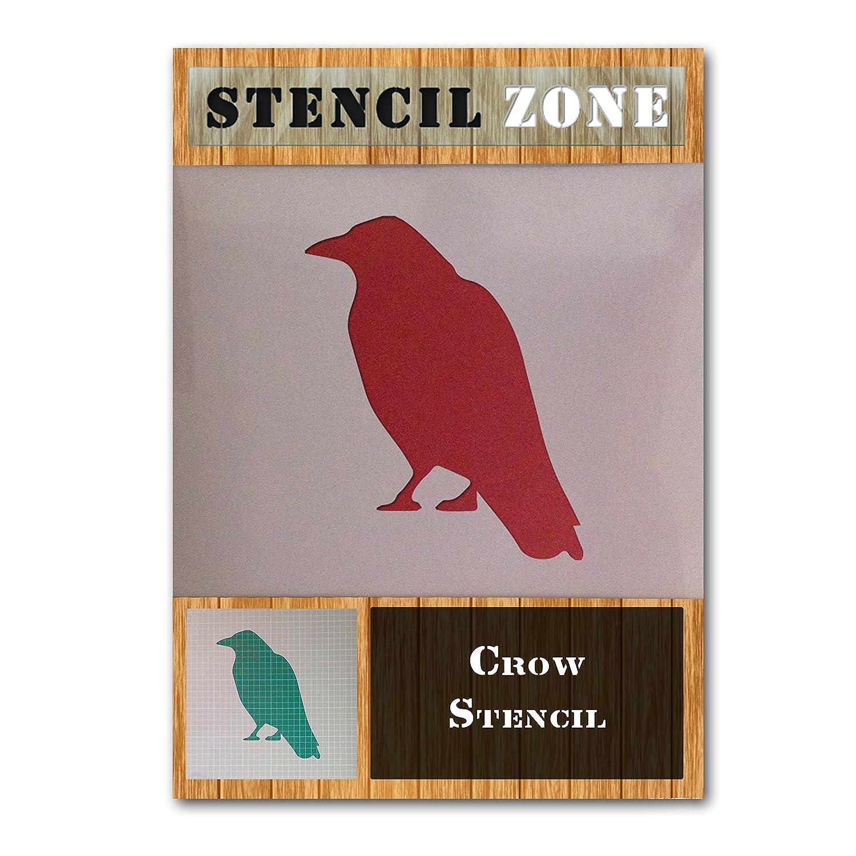 Corbeau oiseaux Sitting Mylar animaux Airbrush Peinture murale Art Pochoir cinq A6 Taille Pochoir - XXSmall