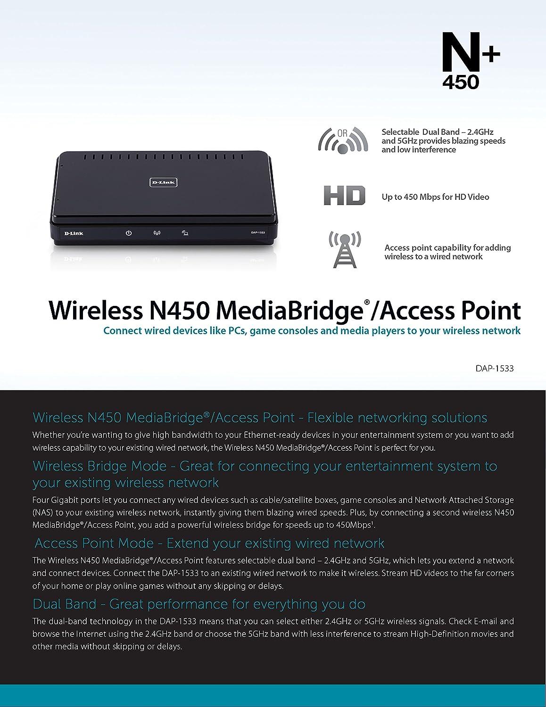 D-Link Wireless-N450 MediaBridge/Access Point (DAP-1533): Amazon.ca ...