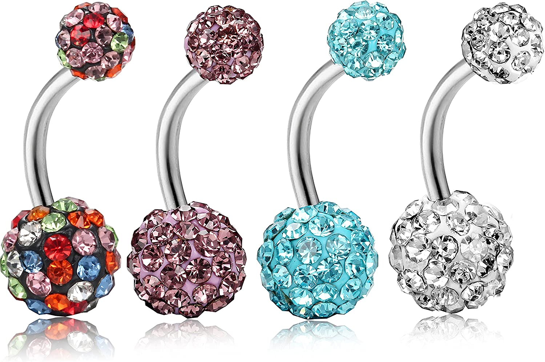 Belly Button Ring Crystal Rhinestone Jewelry Navel Bar Body Piercing Jewelry JT