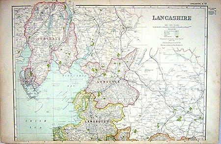 Map Of England Lancaster.Old Original Antique Victorian Print Map Lancashire England
