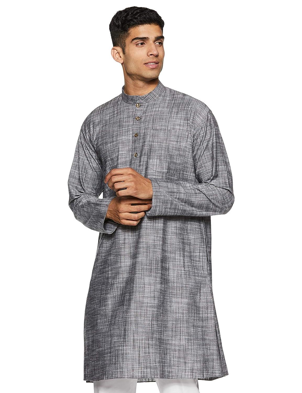 aaae13c7c4b Manyavar Men s Mid-Thigh Cotton Kurta  Amazon.in  Clothing   Accessories