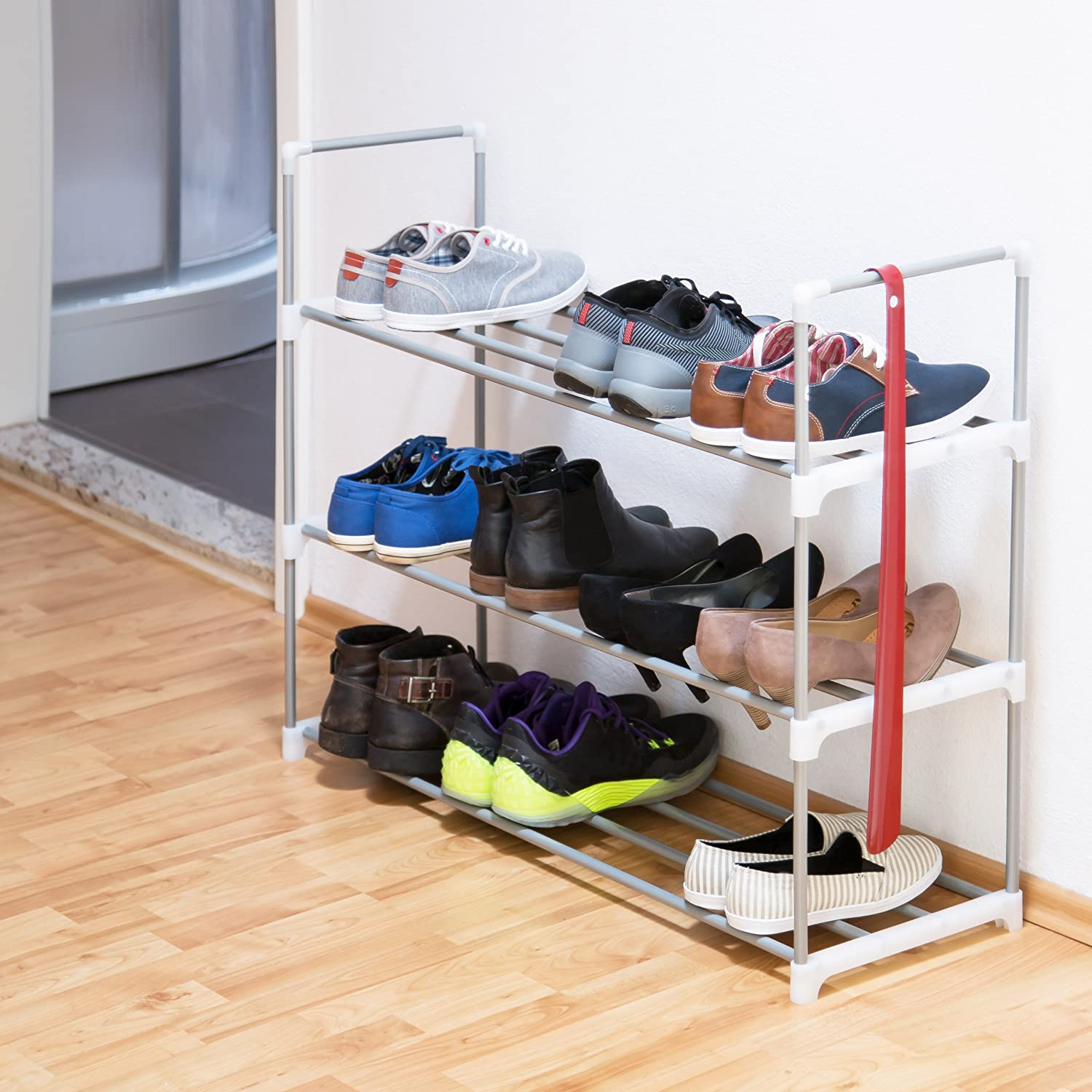 relaxdays shoe rack size 70 x 90 x 30 cm shoe storage made of metal with 3 levels 3 shelves as shoe holder and shoe stand for