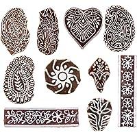 Hashcart Houten stempelstempel voor blokdruk, handgesneden drukpatronen voor stofranden, henna- en textieldruk…