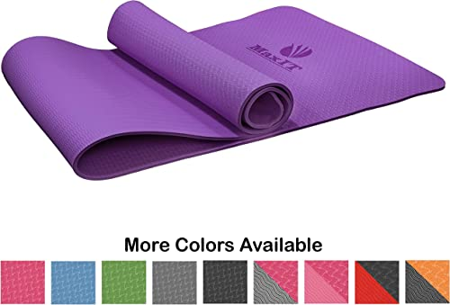 MaxIT Non Slip Yoga Mat TPE High-Density Anti Rip Material Dual Layer Structure for Optimal Grip 1 4 6mm Thick Comfortable Cushioning Wide Size for Gym or Home Includes Carrying Strap