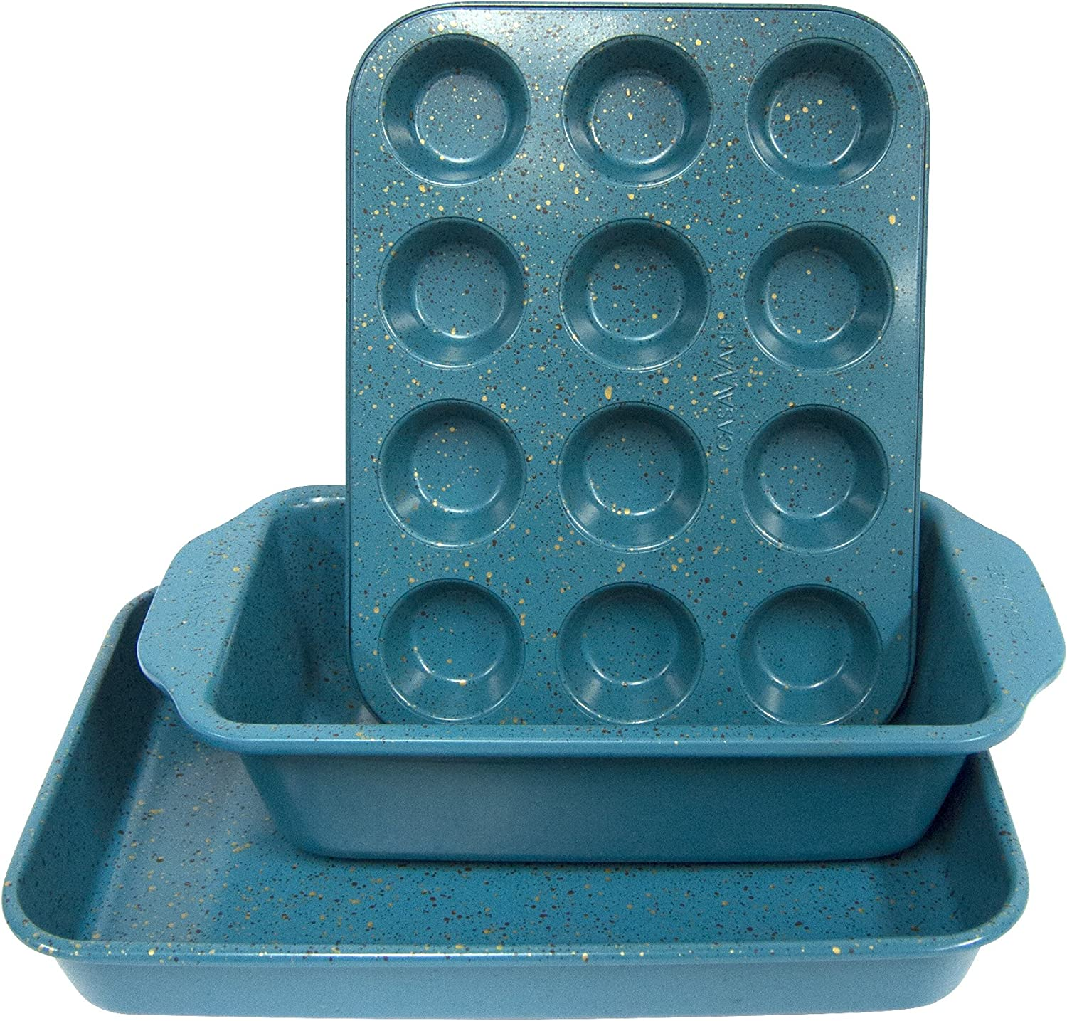 casaWare Toaster Oven 3pc Set (Baking, Loaf and Mini Muffin Pan 12 Cup) (Blue Granite)