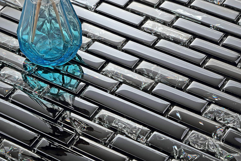 Patró n de mosaico de azulejos Scwarz roto Crush efecto y de cristal transparente (MT0074) GTDE