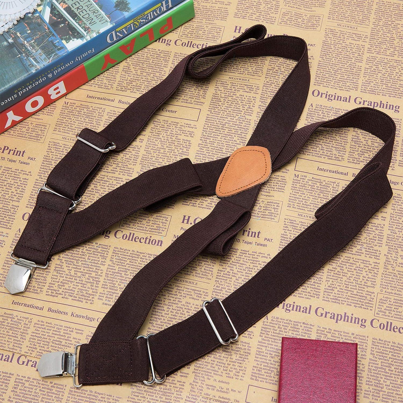 Buyless Fashion Mens Suspenders Elastic Adjustable 48 in X Back Trucker 1 /¼ 5115-Tan
