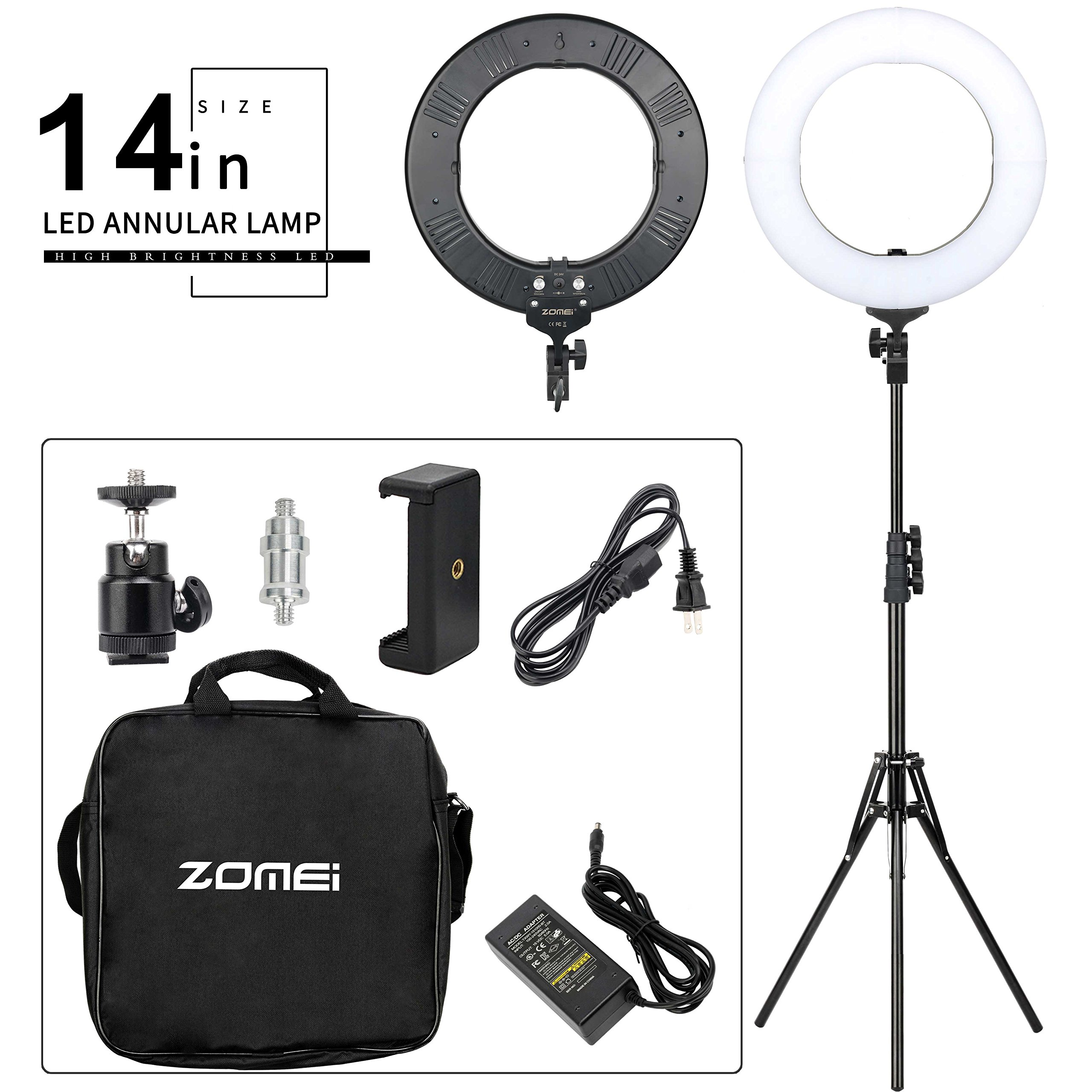ZOMEI 14-inch Bi-Color Stepless Dimmable LED Ring Light Kitwith Stand 41W 5500K Output Hot Shoe Adapter for Outdoor Shooting Live Streaming Make up and YouTube Video