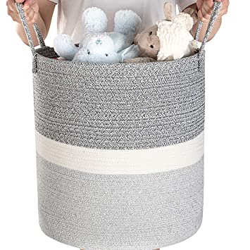 Baby Laundry Basket Clothing Large Cotton Rope Basket Home Decor Addition Woven Basket Use for Throw Pillow Toys Storage Blanket Basket for Living Room Stylish Nursery Organizer