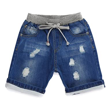 ea7b96b88fdf Amazon.com  Encontrar Boys Blue Ripped Jeans Shorts 2T-8  Clothing