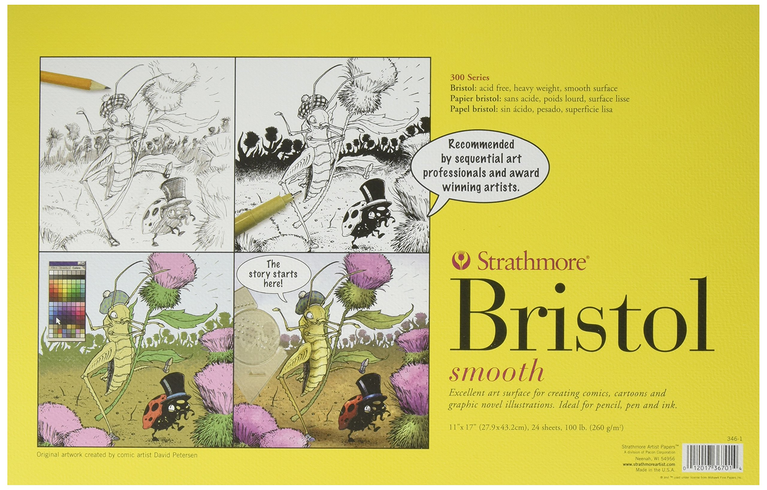 Strathmore 346-1 Paper 300 Series Sequential Art Bristol, Smooth 11 x 17 Inches White 24 Sheets