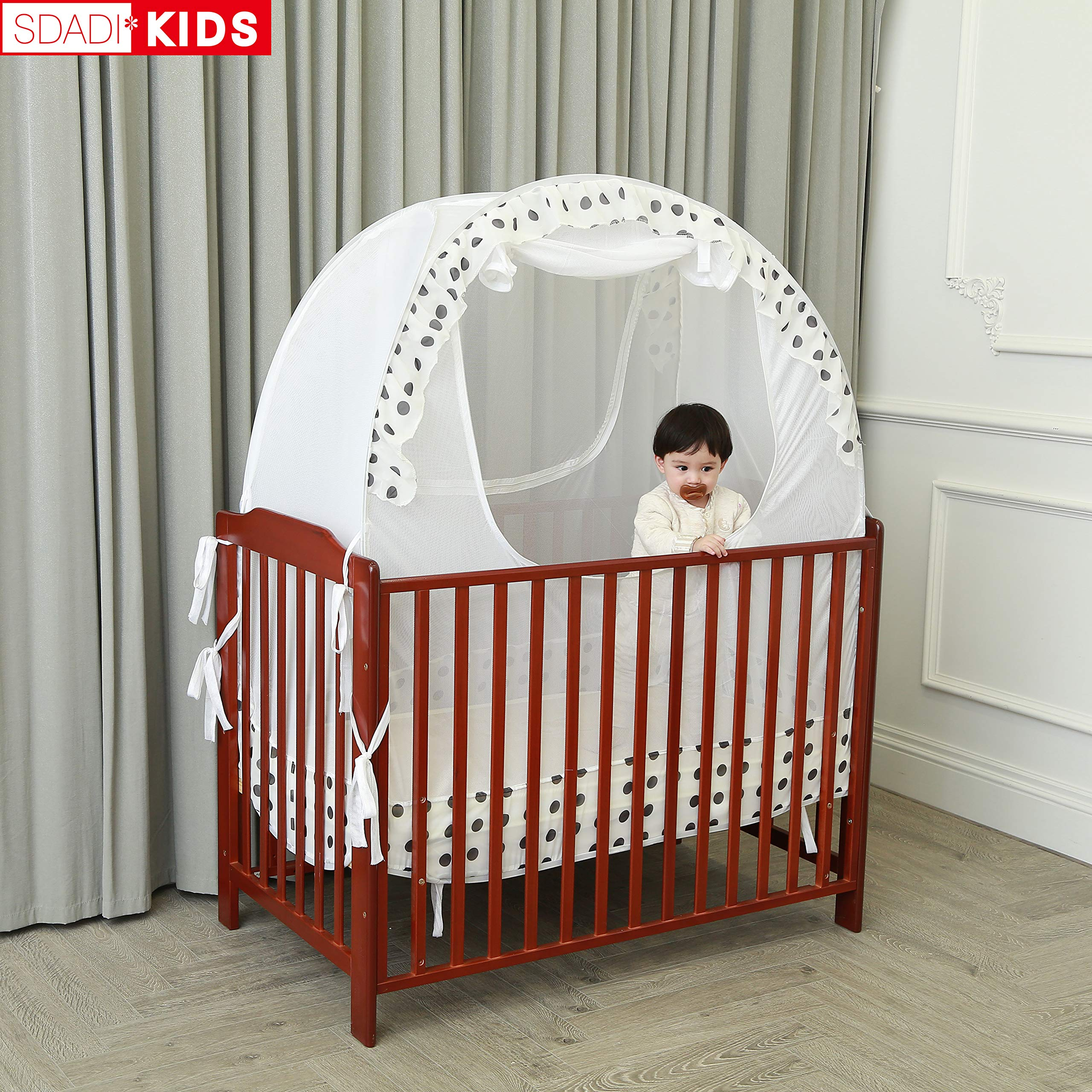 SDADI Baby Crib Safety Tent Pop Up Mosquito Net with Baby Monitor Hang Ribbon,Toddler Bed Canopy Netting Cover |Dots WLCN01D by SDADI (Image #7)