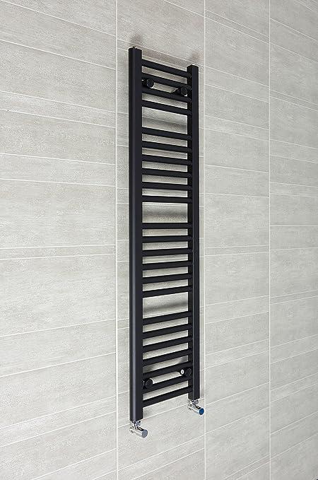 300mm ancho x 1200mm Alto Radiador Toallero Recto Plano Negro Baño Calentador Radiador Estantería Calefacción Central
