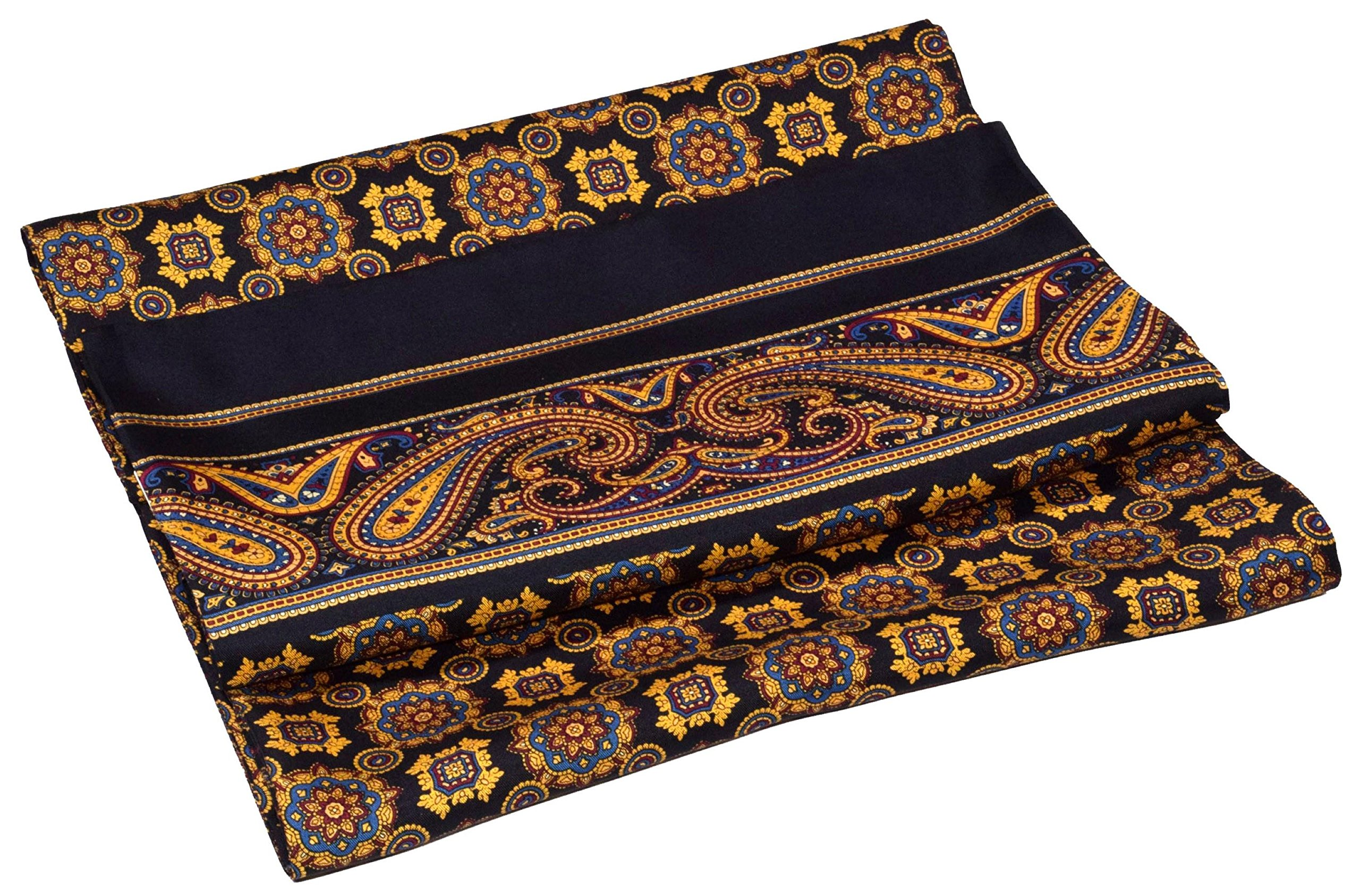 Yellow Black Paisley Printed Double Layer Long Silk Scarf
