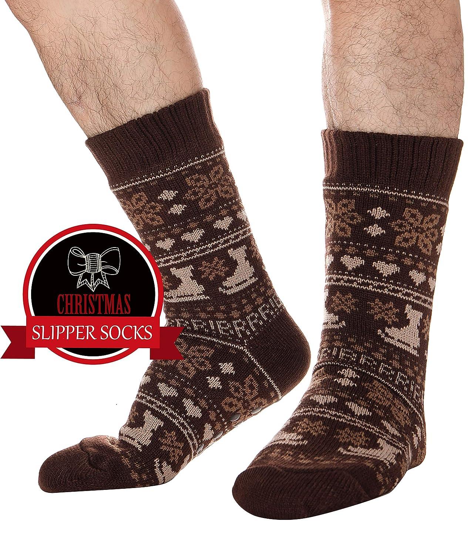 1f938c706a7fe5 Mens Fuzzy Slipper Socks Thick Warm Heavy Fleece lined Christmas Stockings  Fluffy Winter Socks ...
