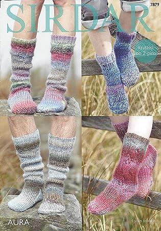 Sirdar Aura Chunky 7879 - Patrón para tejer calcetines (con ovillo ...