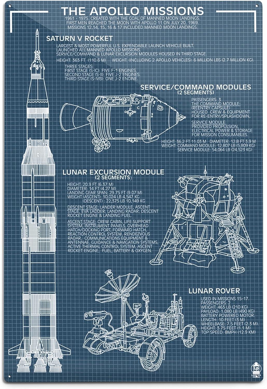 Lantern Press Apollo Missions - Blueprint (12x18 Aluminum Wall Sign, Wall Decor Ready to Hang)