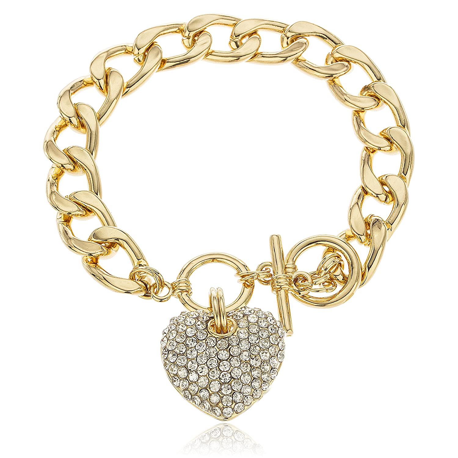 Goldtone with Clear Iced Out Heart 8.5 Inch Cuban Link 12mm Toggle Bracelet JOTW HB1232/S-1660