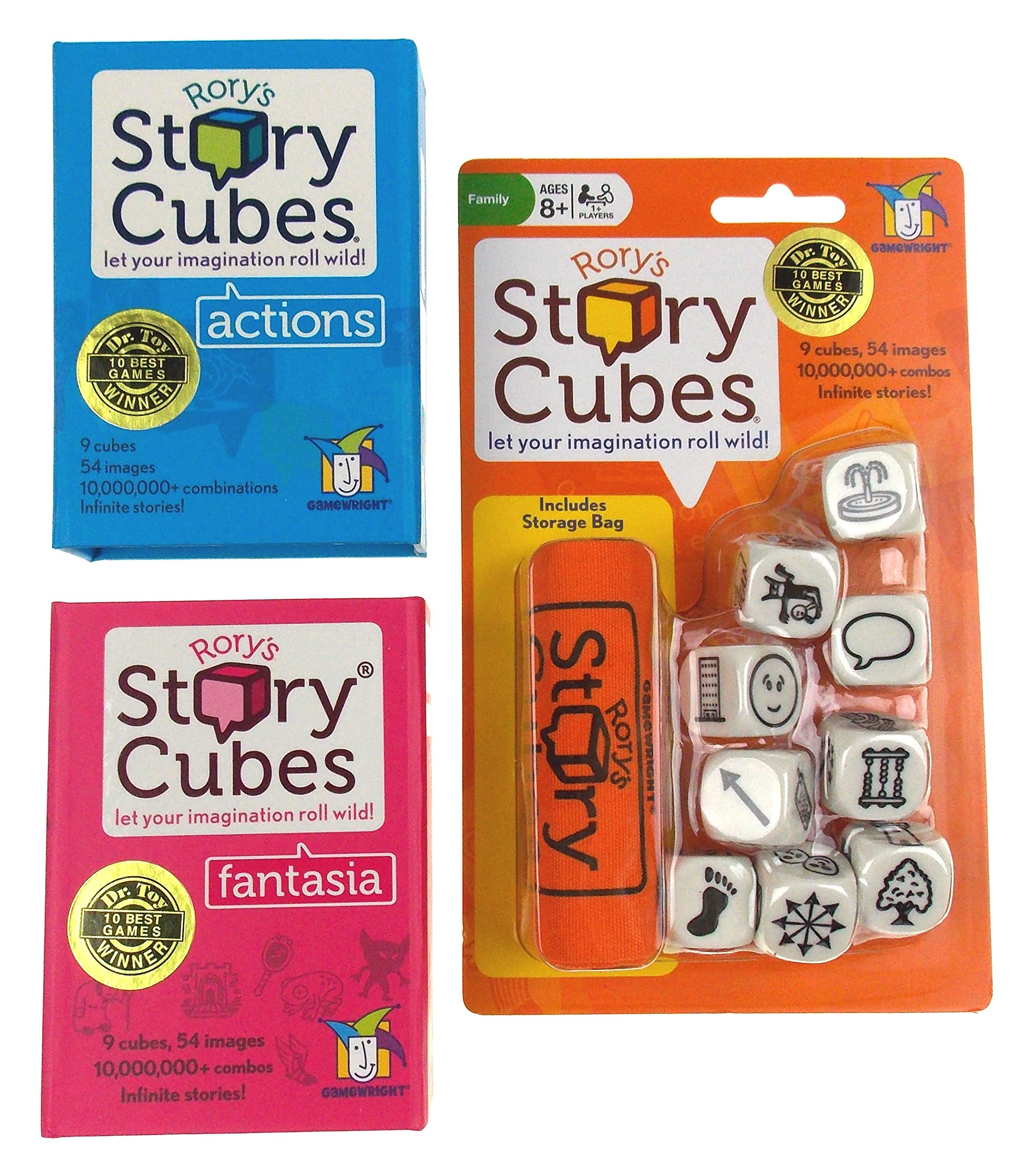 Rory's Story Cubes Bundle - Includes Rory's Story Cubes Original, Actions & Fantasia Gamewright