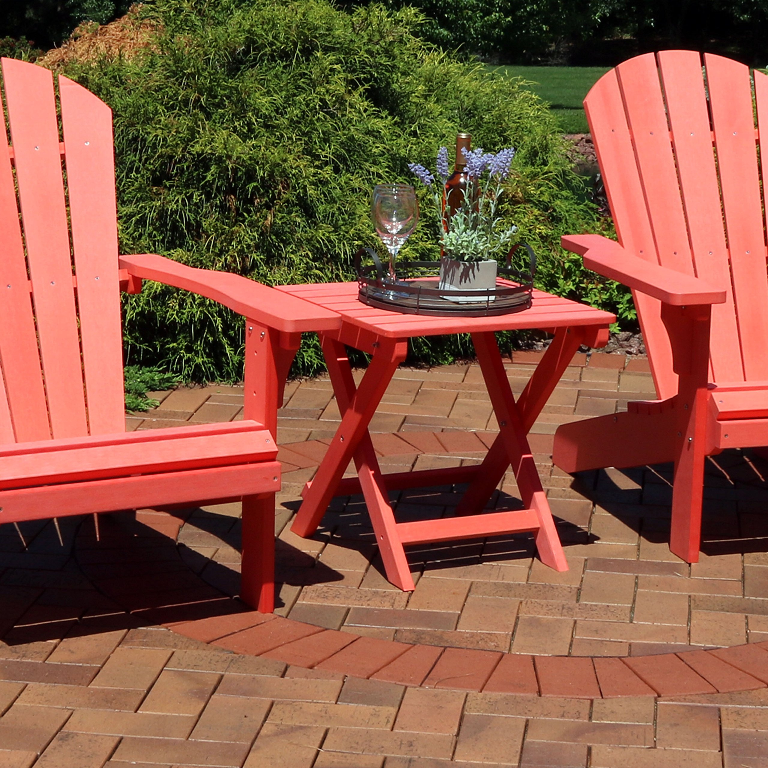 Sunnydaze All-Weather Folding Patio Side Table, Faux Wood Design, Salmon by Sunnydaze Decor (Image #2)