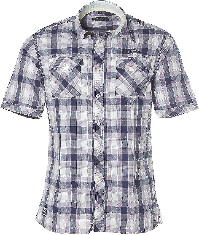 DIGEL Hombre Camisa Cuadros Cuadros – Camisa para Hombre, Manga Corta, Hombre, Color Morado, tamaño Medium: Amazon.es: Ropa y accesorios