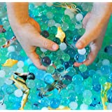 Dew Drops Water Beads Ocean Animals Adventure Kit (4 oz Sea Colored Beads Plus 15 Sea Creatures) Thousands of Marble Size Stress Balls Deep Sea Colors for Sensory Play Bin