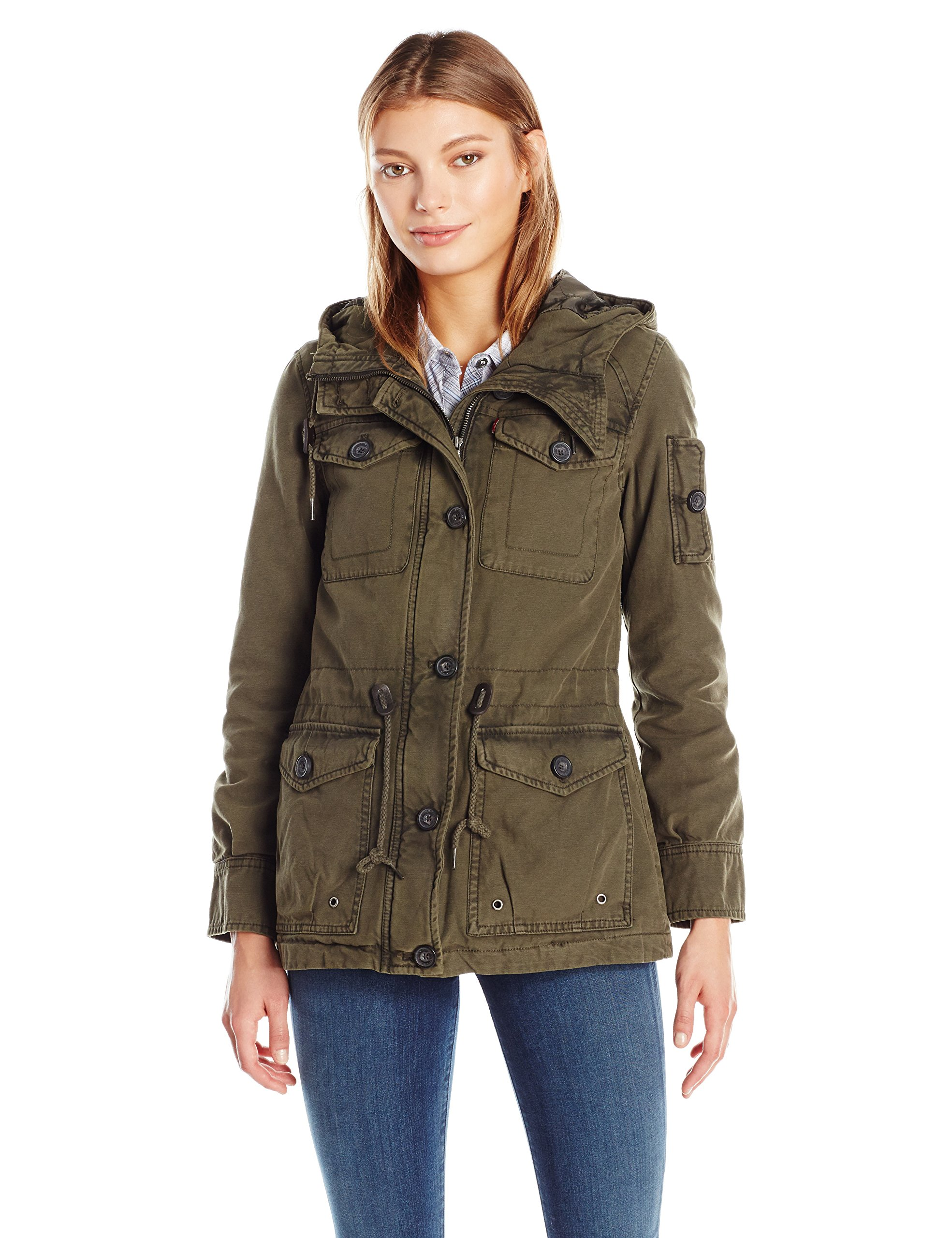 Levi's Women's Cotton Four Pocket Hooded Field Jacket, Army Green, XS