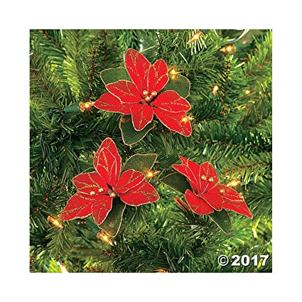 red glitter poinsettia christmas tree ornaments 2 dozen per order - Poinsettia Christmas Decorations