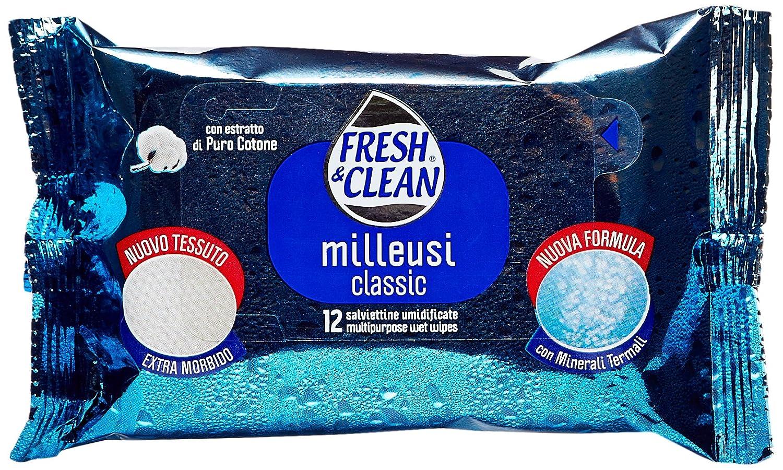 Fresh & Clean - Salviettine Umidificate, con Estratto di Puro Cotone, 12 salviettine Sodalco