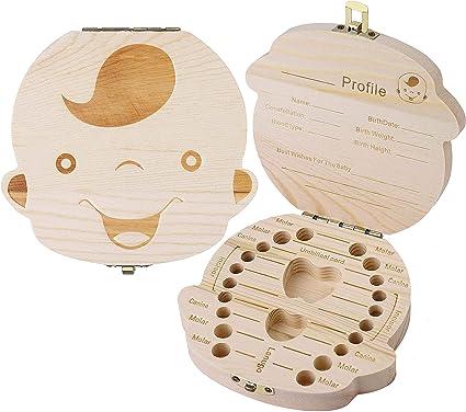 Luchild Denti salva box per bambini Accumulazione dei denti Bambini in legno ricordo regalo