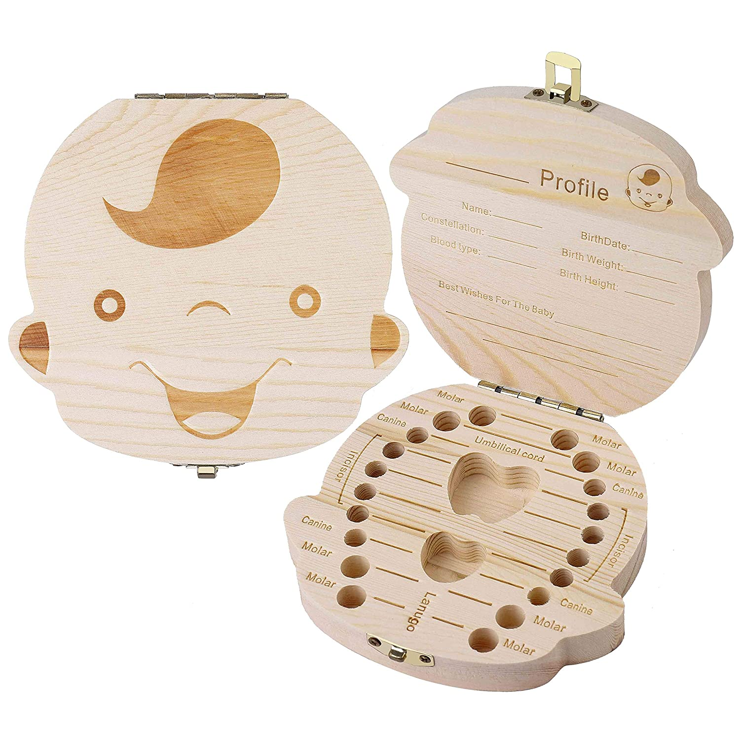 Teeth Save Box Baby Teeth Storage Box Keepsack Kids Wooden Tooth Souvenir Case to Collect Deciduous Molar Canine Incisor for Children Maoxin Tek