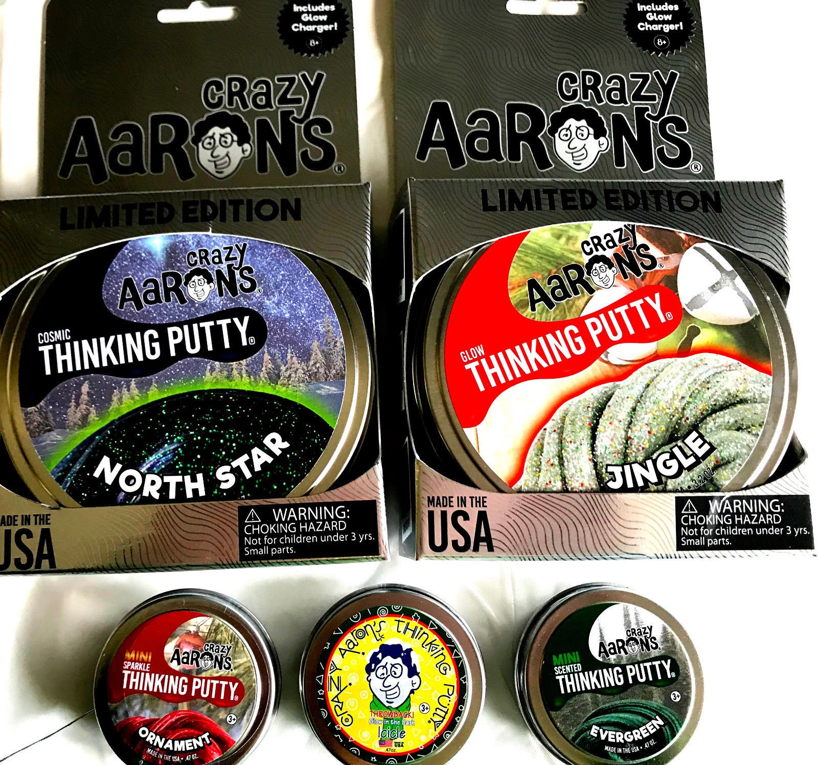 North Star, Jingle 3 other Holiday Christmas Crazy Aaron's Thinking Putty 5 pack
