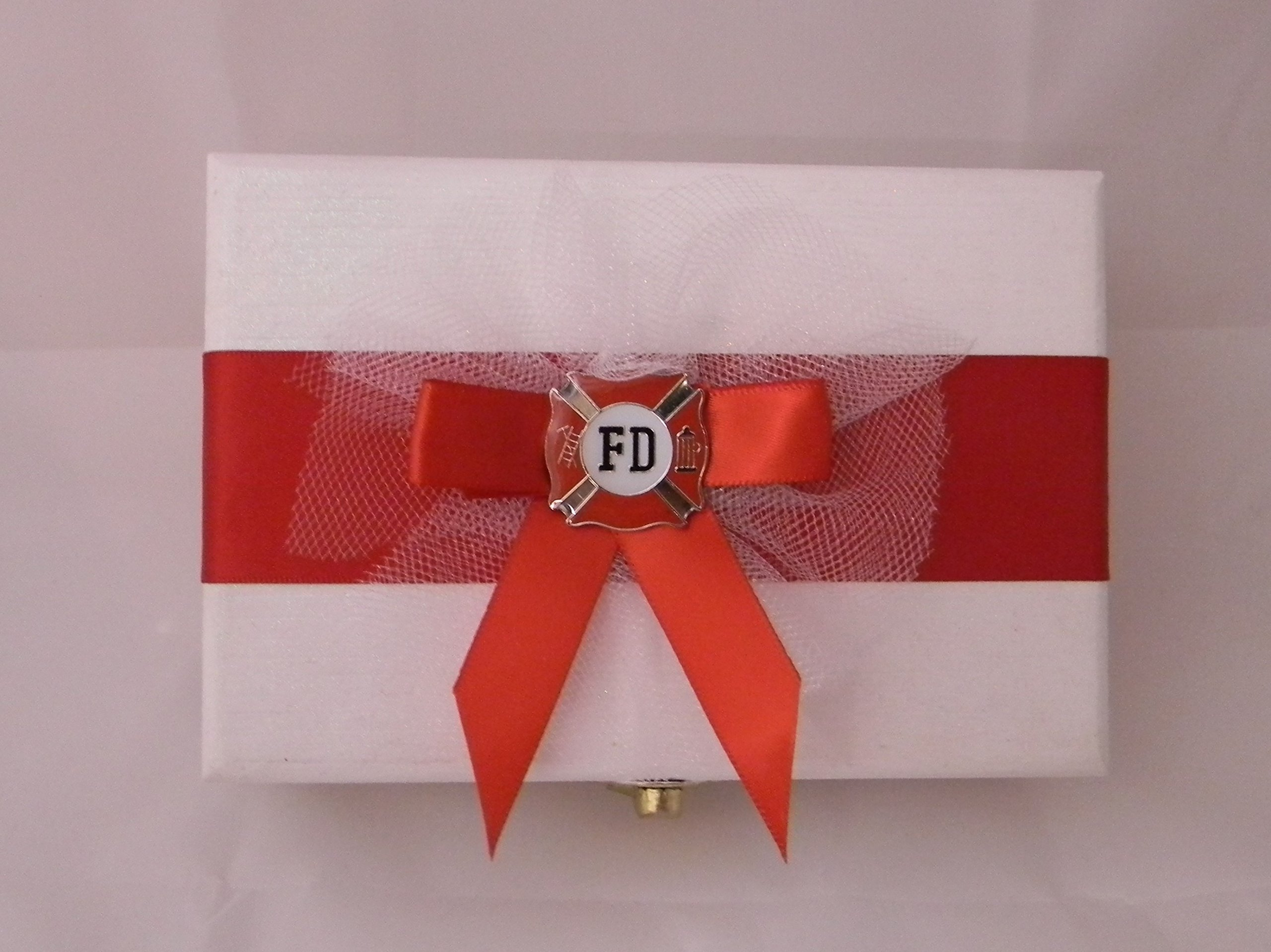 Wedding Ceremony Party Fireman Firefighter ring bearer pillow Box