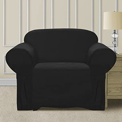 Comfy Bedding Microsuede Sofa Furniture Slipcover with Elastic Straps under  Seat Cushion (Black, Chair)