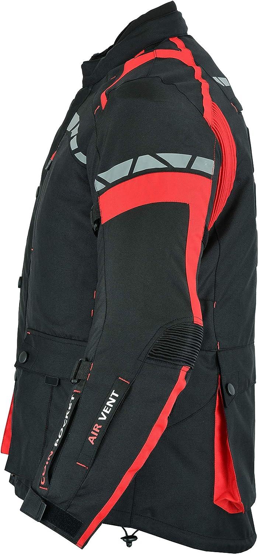 CJ-9490 Veste de moto imperm/éable pour homme en Cordura renforc/é Noir//rouge