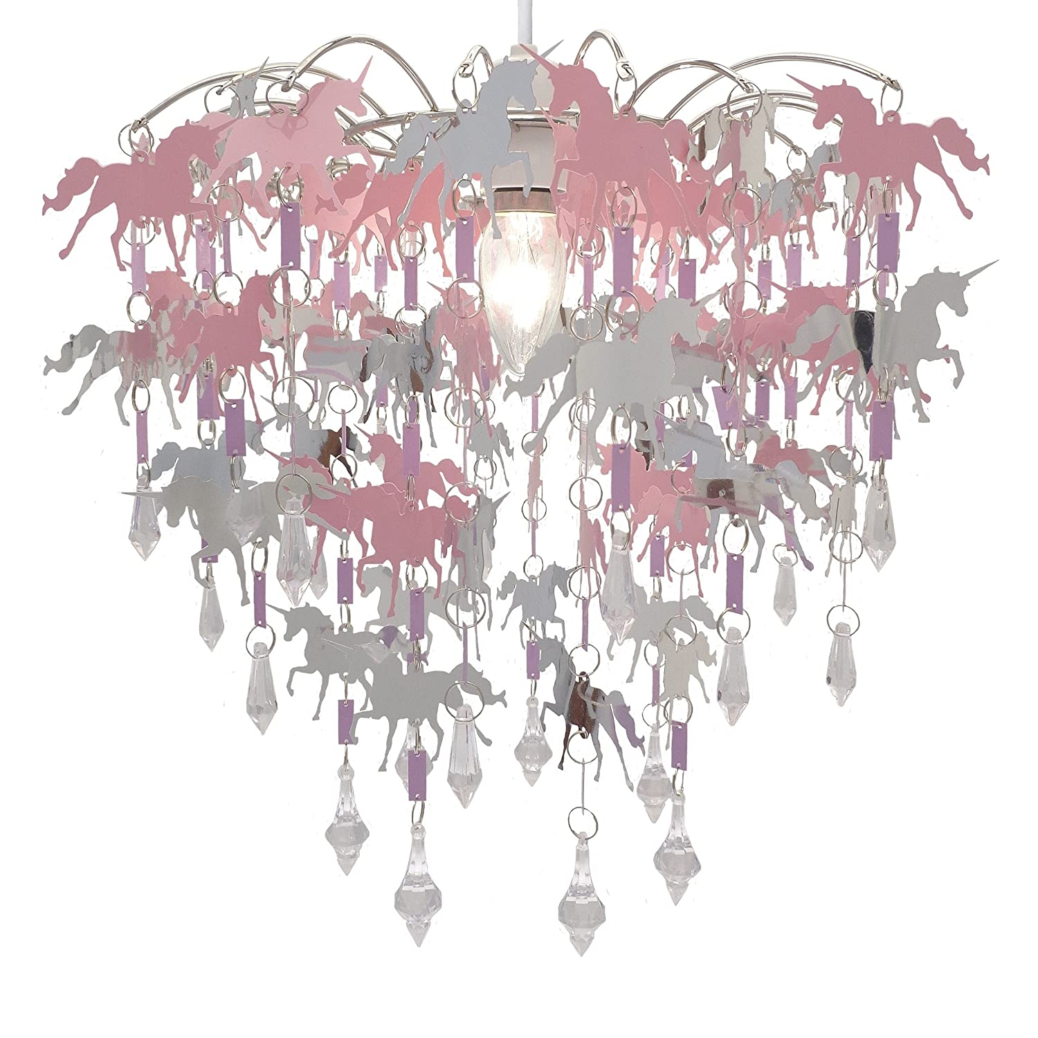 Unicorn Chandelier Children Bedroom Lamp Shade for Girls Nursery Decoration Pink Purple Silver with Shiny Pendants DECO EXPRESS