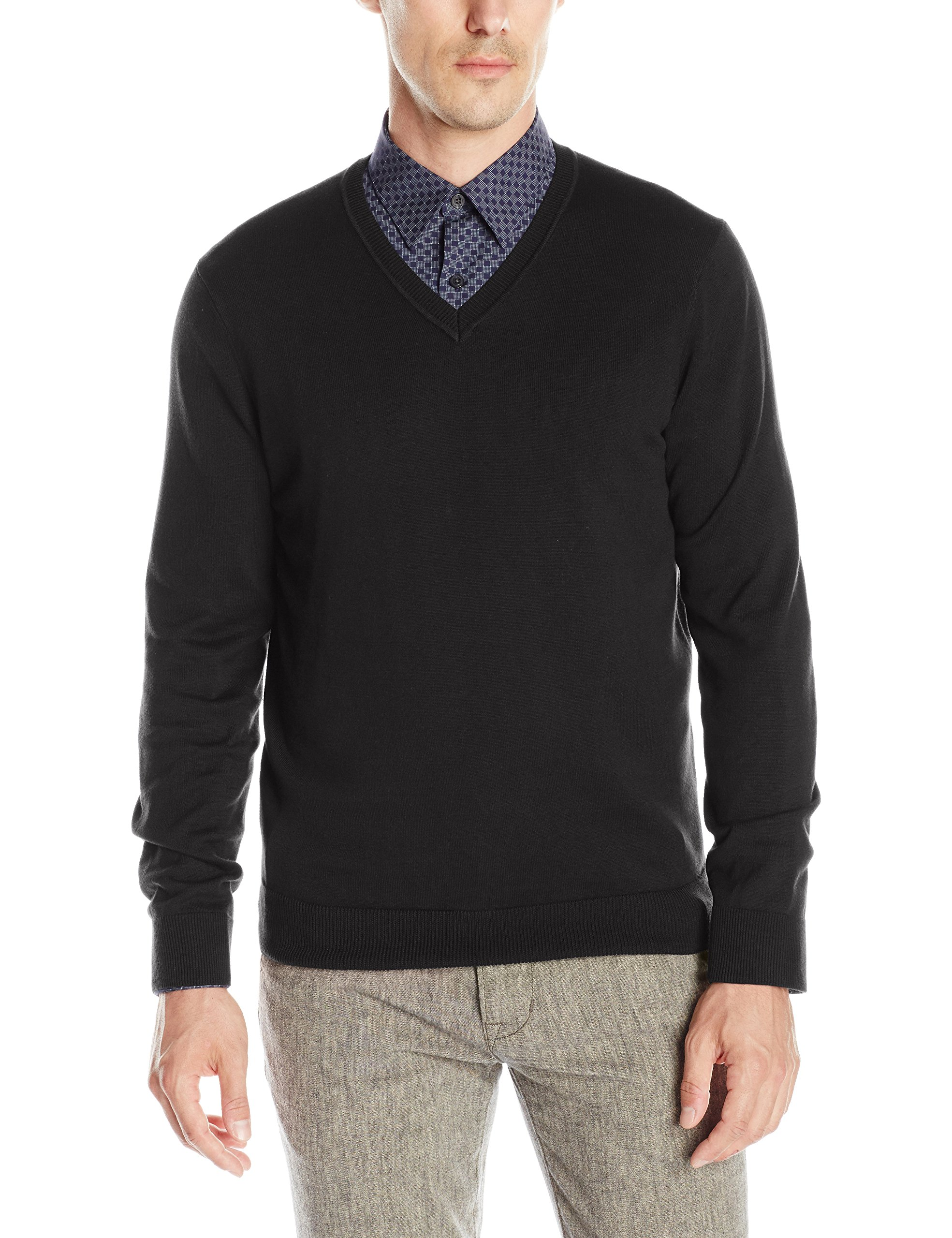 Perry Ellis Men's Classic Solid V-Neck Sweater, Black, Small