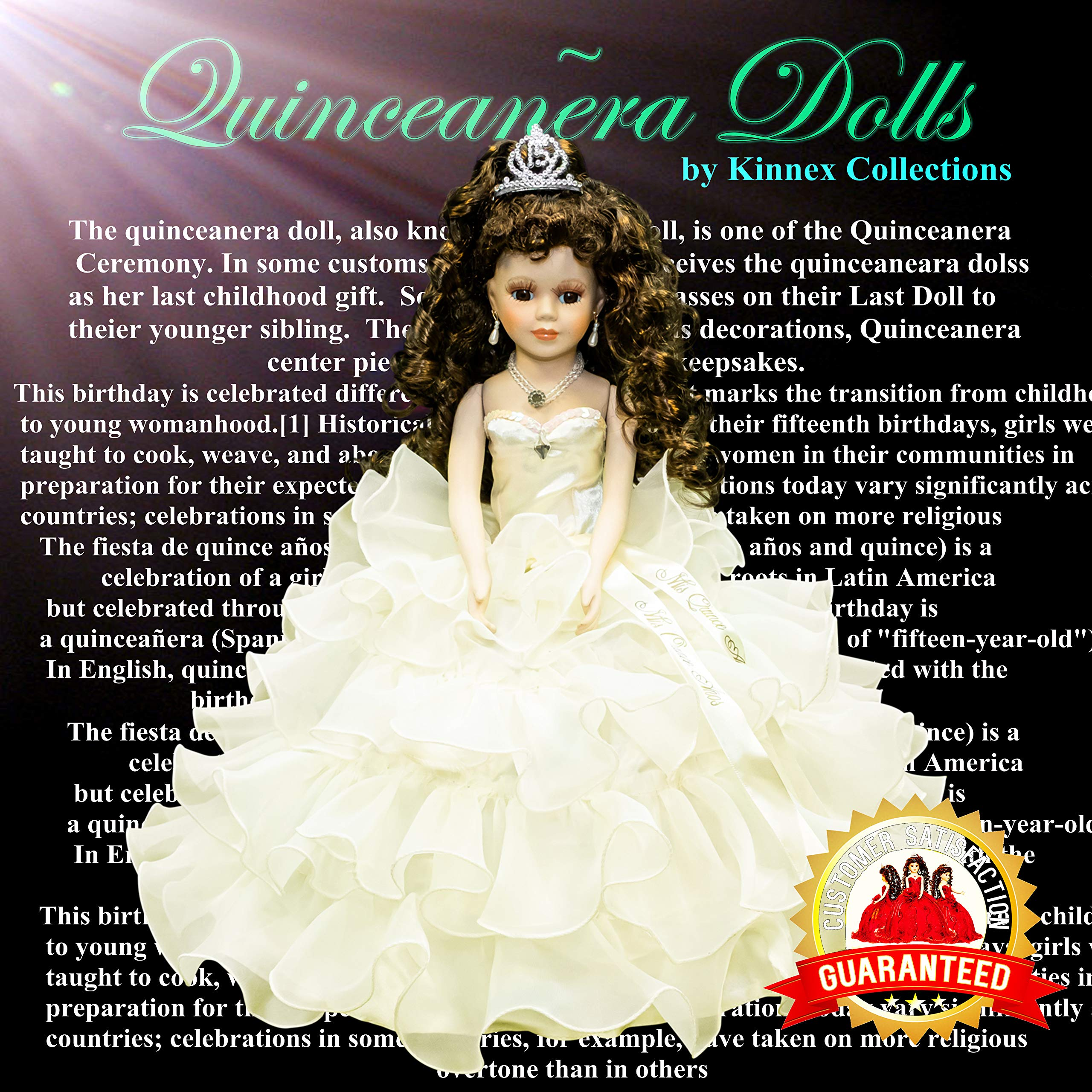 Kinnex Collections by Amanda 18'' Porcelain Quinceanera Umbrella Doll (Table Centerpiece) ~ Beige ~ KW18728- 2