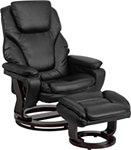 Flash Furniture Contemporary Multi-Position Recliner and Ottoman with Swivel Mahogany Wood Base in Black Leather